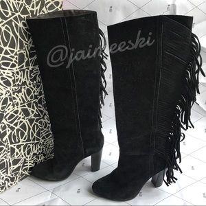 DVF Penn Black Suede High Heel Fringe Boots